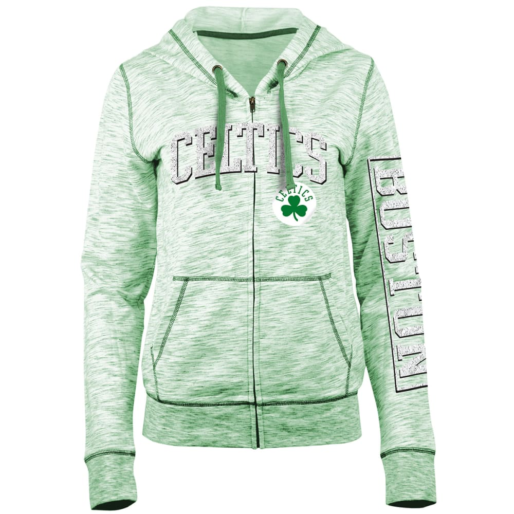 BOSTON CELTICS Women's Space-Dye Full-Zip Fleece Hoodie - GREEN