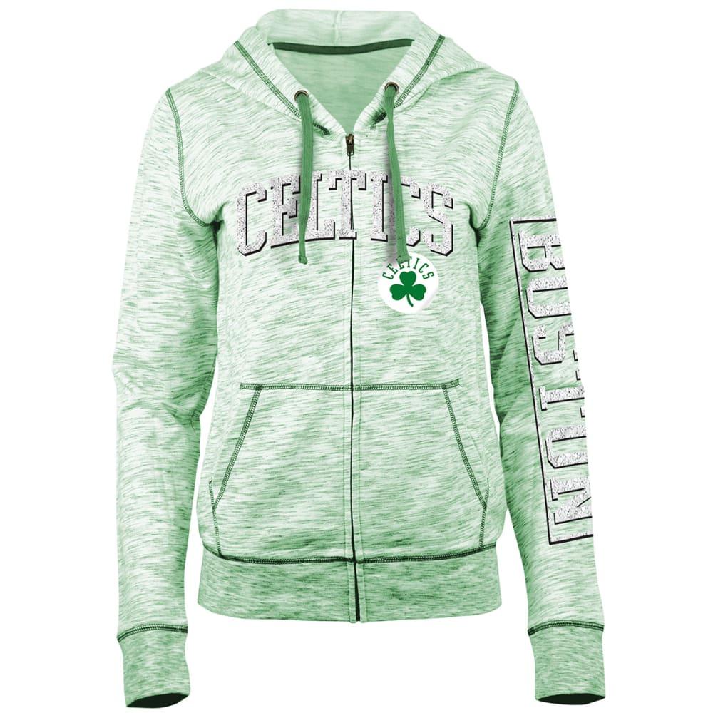BOSTON CELTICS Women's Space-Dye Full-Zip Fleece Hoodie - GREEN