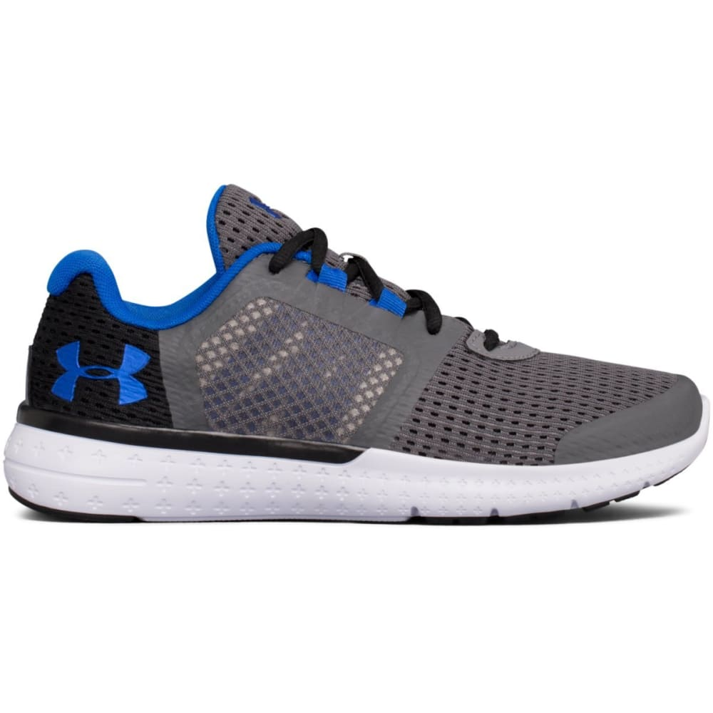 UNDER ARMOUR Boys' Grade School UA Micro G® Fuel Running Shoes, Graphite/Black/Ultra Blue - GRAPHITE