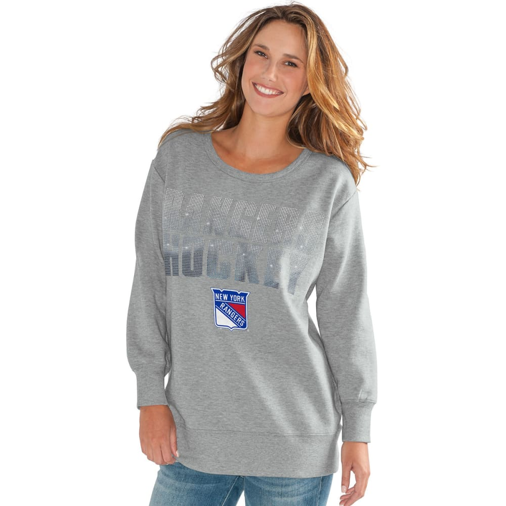 NEW YORK RANGERS Women's Gametime Applique Crew Long-Sleeve Sweatshirt - GREY