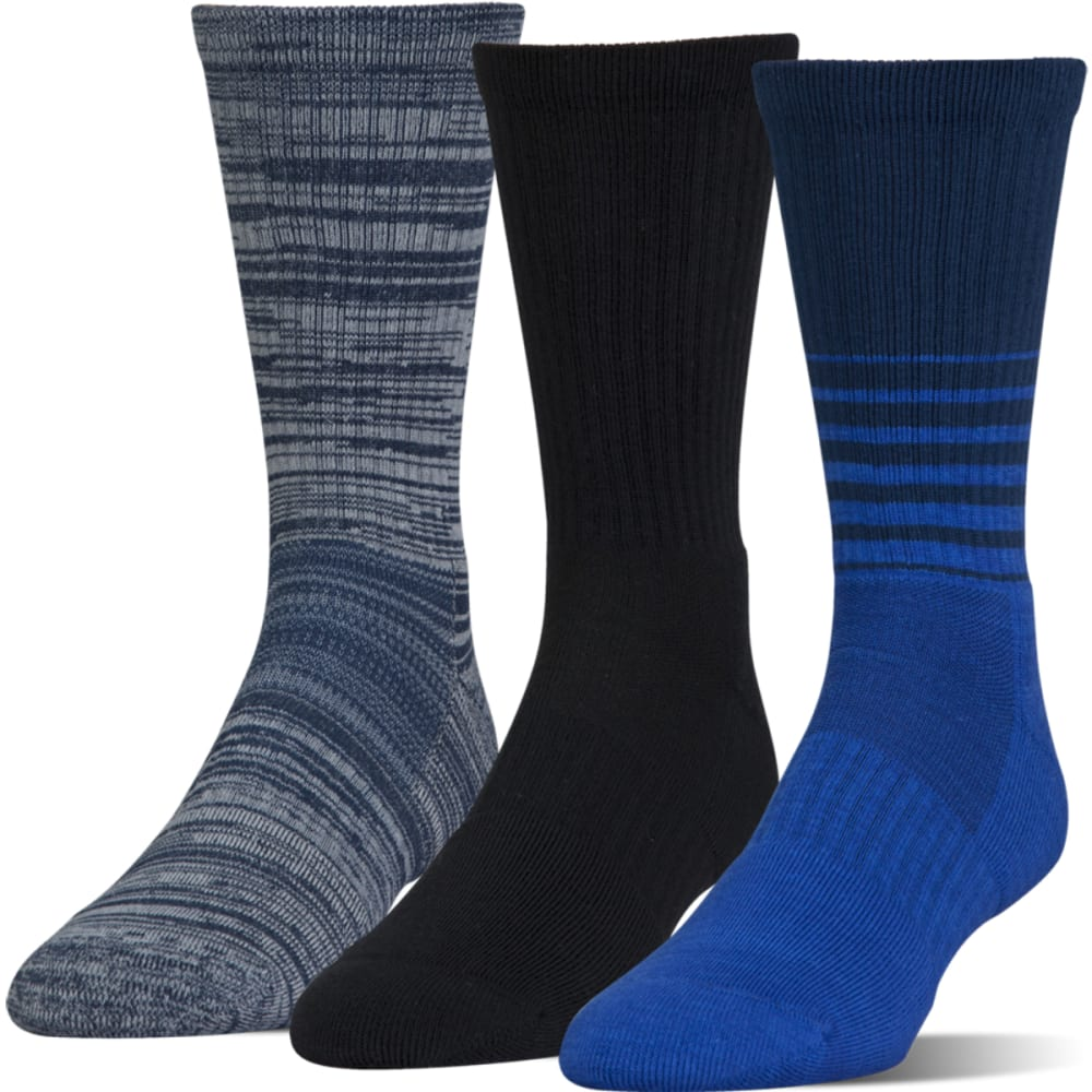 UNDER ARMOUR Men's UA Phenom Twisted Crew Socks, 3 Pack - BLUE MARKER ASS-961