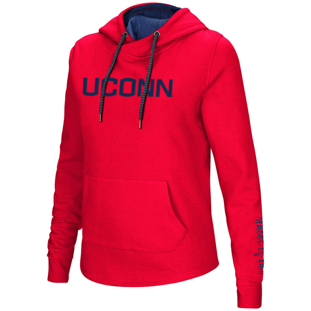 UCONN Women's Inward Crossover Neck Pullover Hoodie - RED