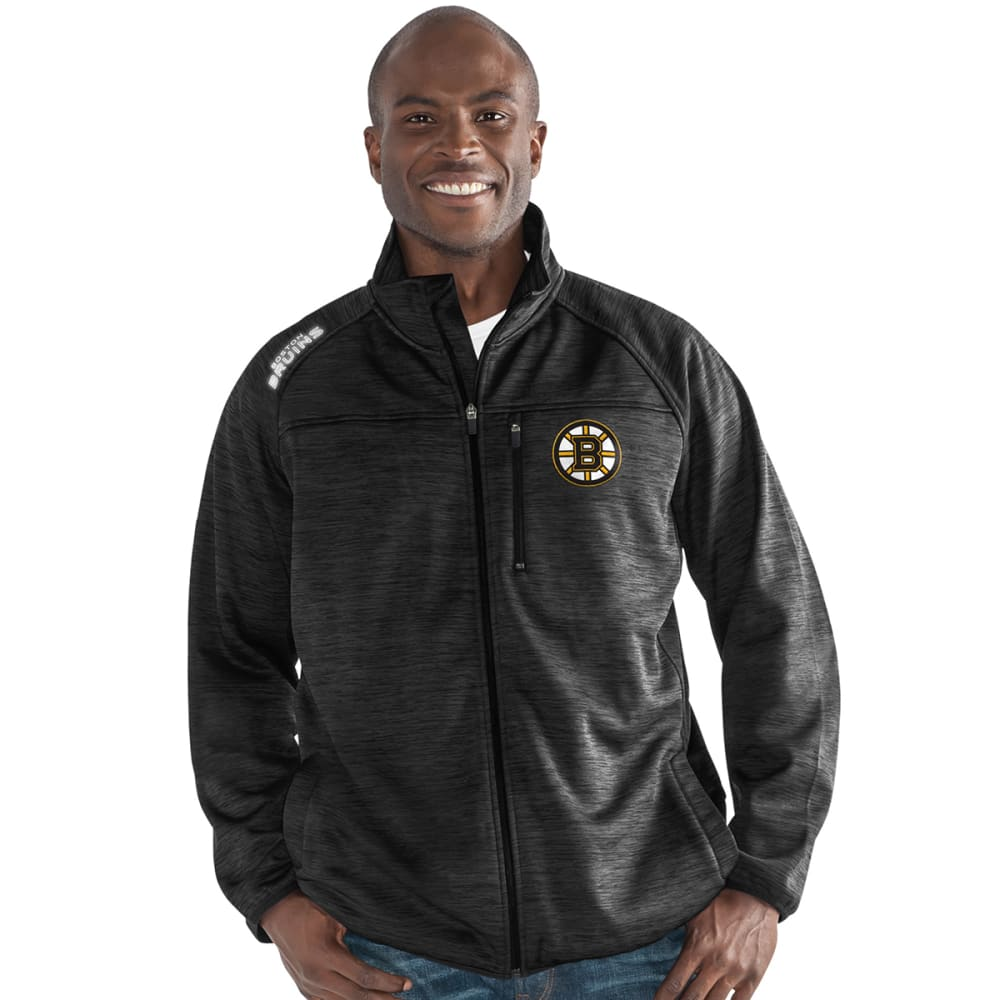 BOSTON BRUINS Men's Mindset Space-Dye Microfleece Full-Zip Jacket - BLACK