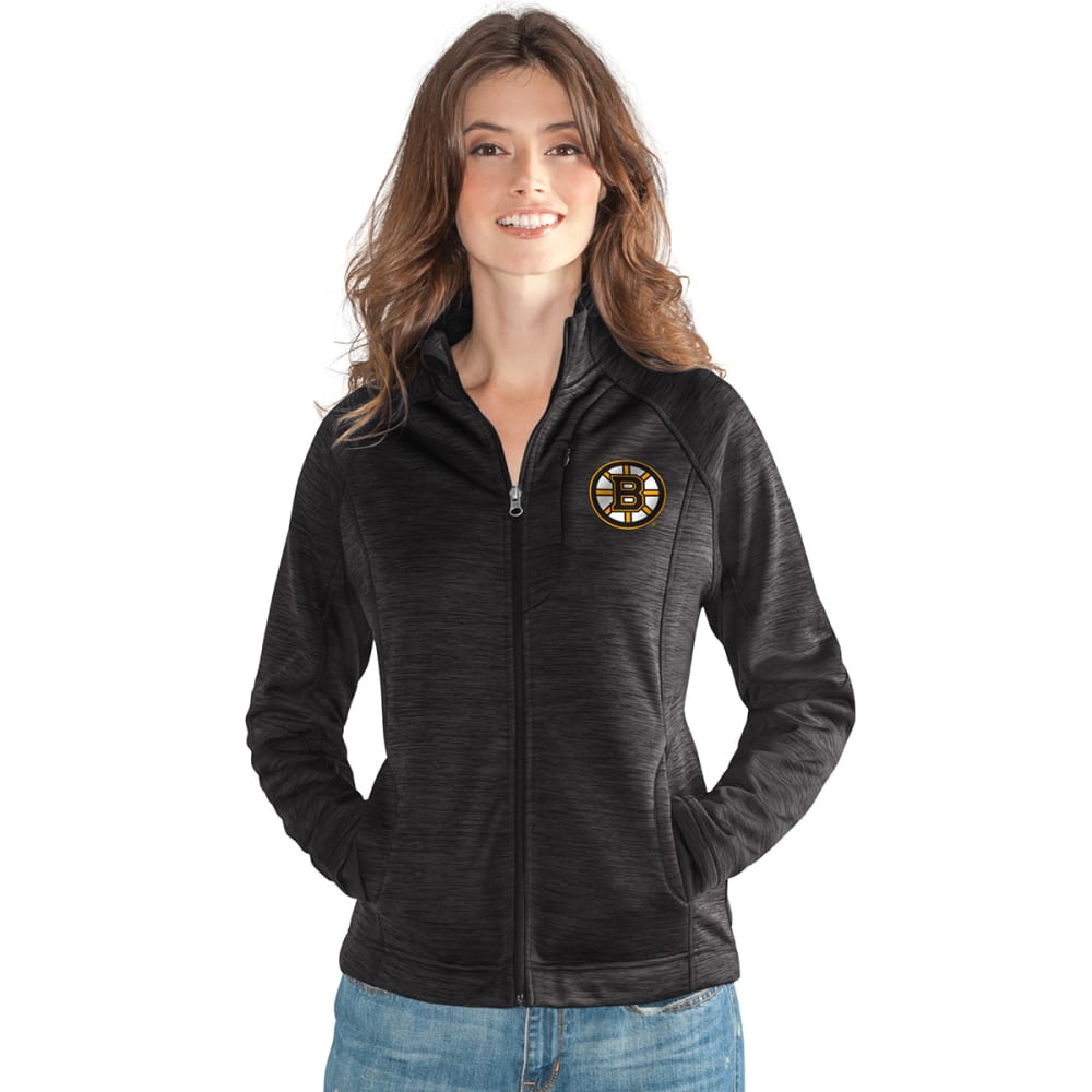 BOSTON BRUINS Women's Hand Off Space-Dye Microfleece Full-Zip Jacket - BLACK