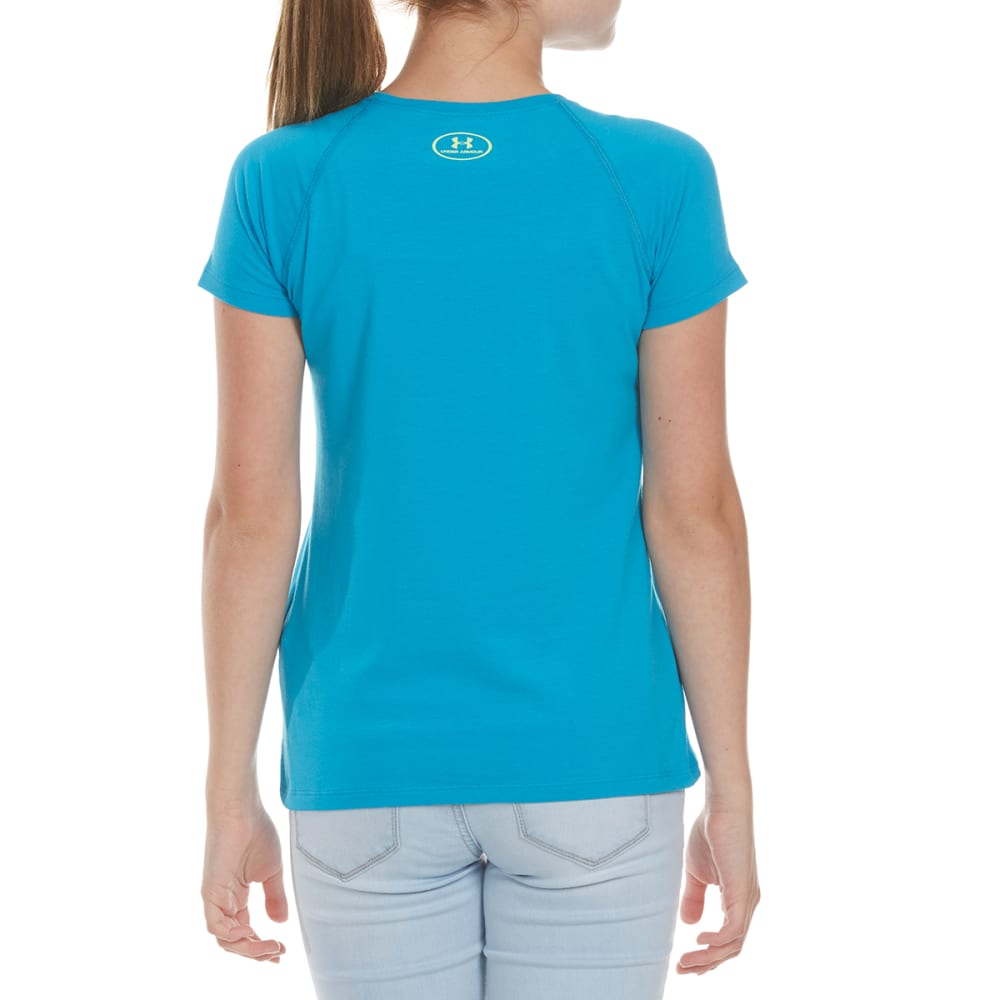 UNDER ARMOUR Girls' Run The World Short-Sleeve Tee - 929-BLUSHFT/WHT/LIME