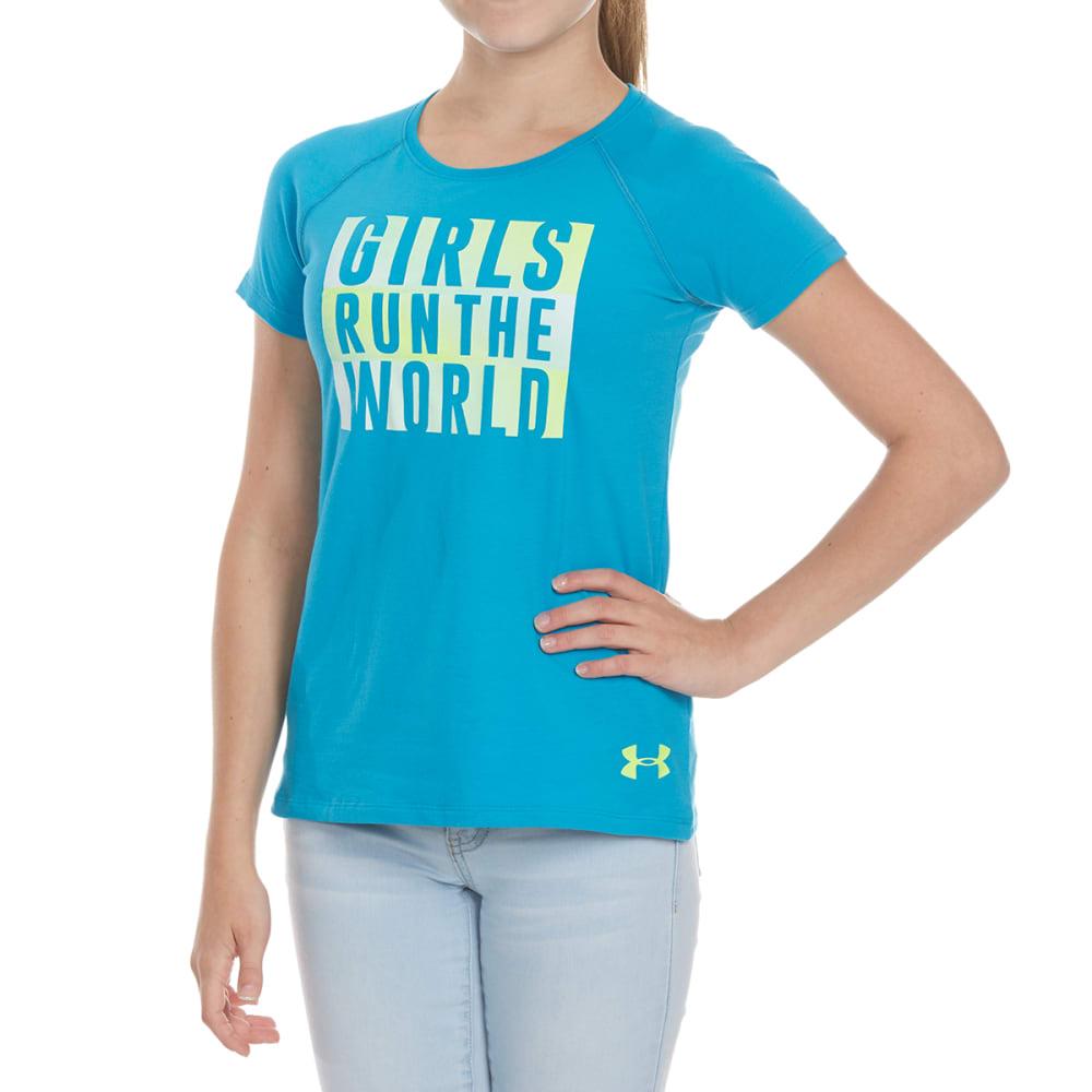 UNDER ARMOUR Girls' Run The World Short-Sleeve Tee - 929-BLUSHFT/WHT/LIME