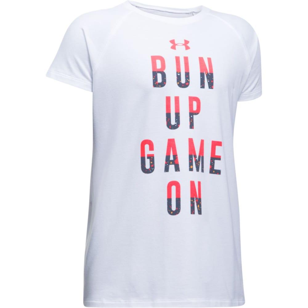 UNDER ARMOUR Girls' UA Bun Up, Game On Short-Sleeve Tee - 100-WHITE/MARATHNRED