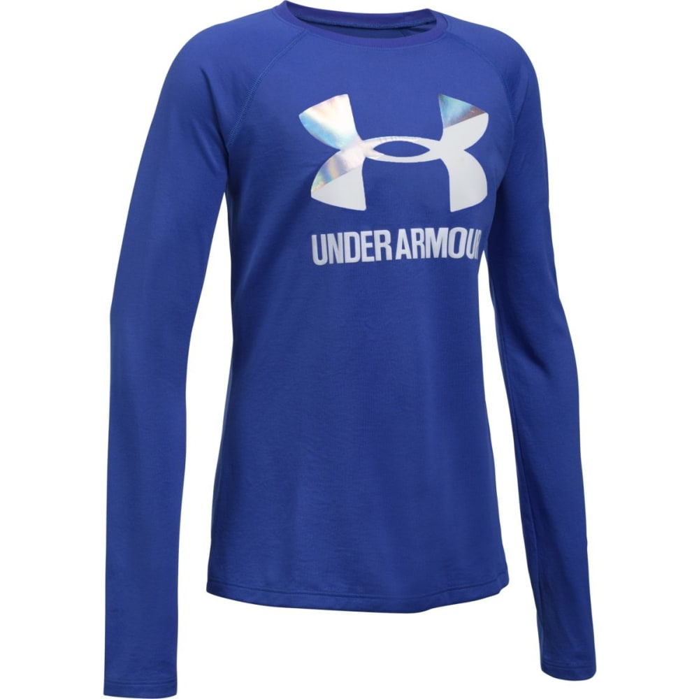 UNDER ARMOUR Girls' UA Big Logo Slash Long-Sleeve Tee - 530-CONSTELATIONPURP