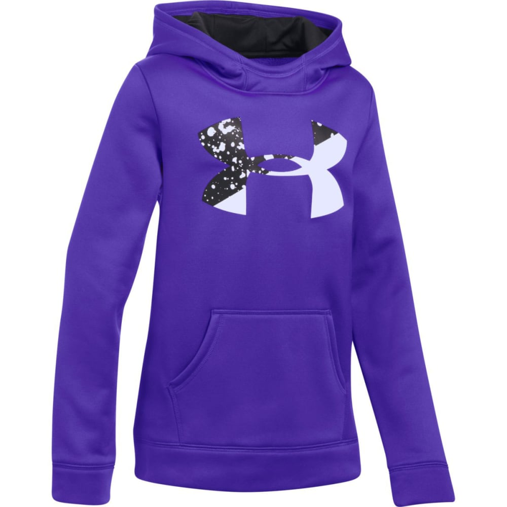 UNDER ARMOUR Girls' Armour Fleece Big Logo Hoodie - 530-COSTLTNPURP/BLK