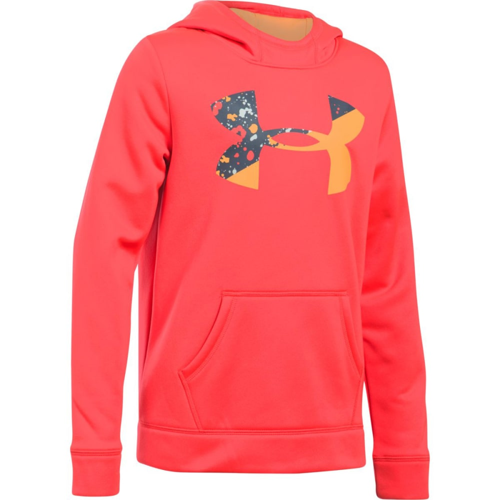 UNDER ARMOUR Girls' Armour Fleece Big Logo Hoodie - 963-MARTHNRD/ORNGPEL