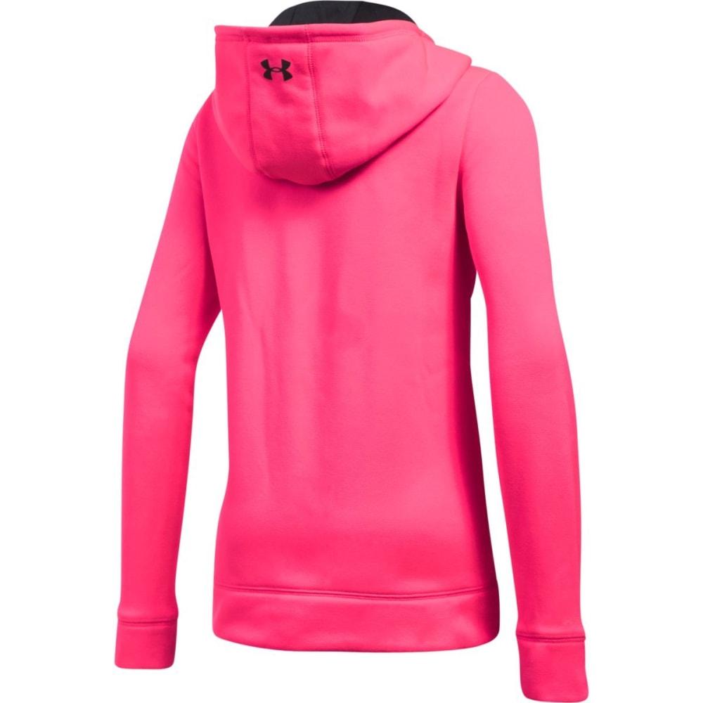 UNDER ARMOUR Girls' Armour Fleece Wordmark Hoodie - 975-PENTA PINK/BLK