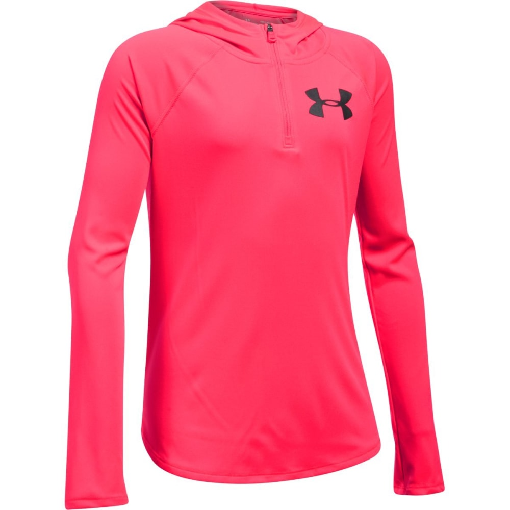 Under Armour Girls' Tech Quarter Zip Hoodie - Red, S