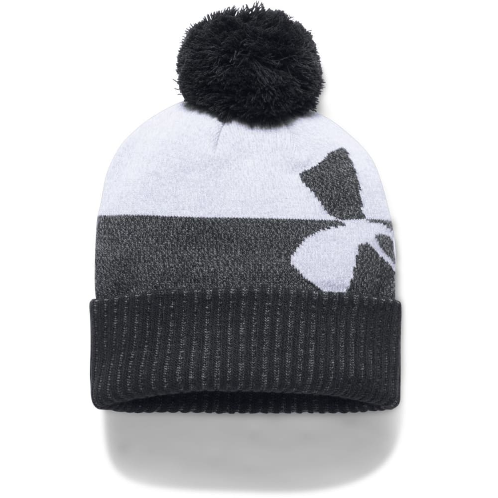 UNDER ARMOUR Boys' UA Pom Beanie - 001-BLACK/STEEL