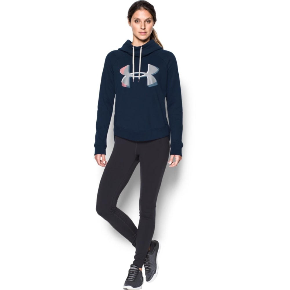 UNDER ARMOUR Women's UA Fashion Favorite Exploded Logo Pullover Hoodie - MIDNIGHT NAVY-413