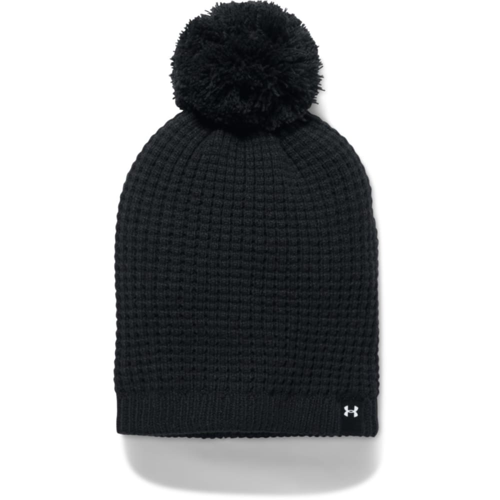 UNDER ARMOUR Women's UA Favorite Waffle Pom Beanie - 001-BLACK