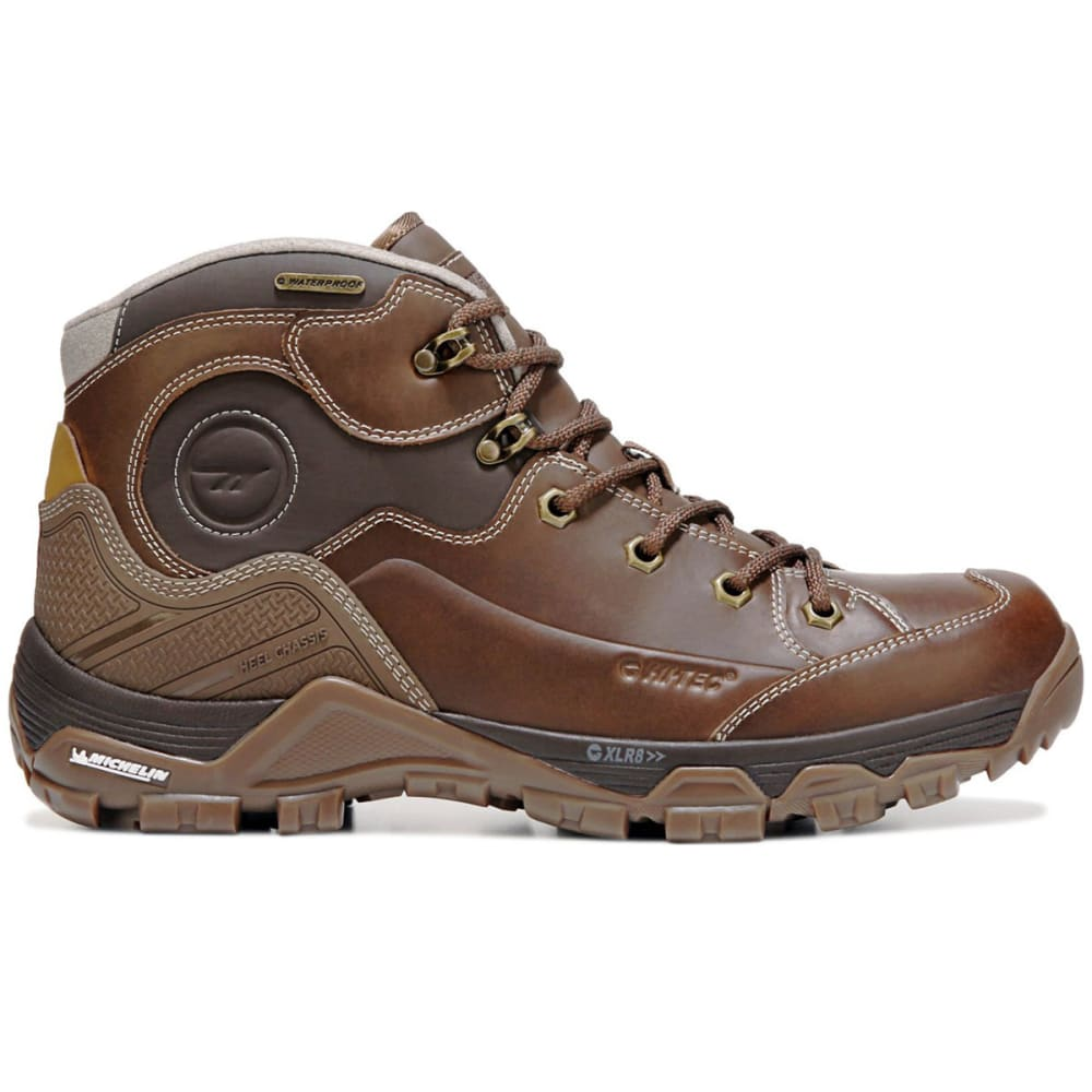 HI-TEC Men's Ox Discovery Mid I Waterproof Hiking Boots - BROWN/GOLD