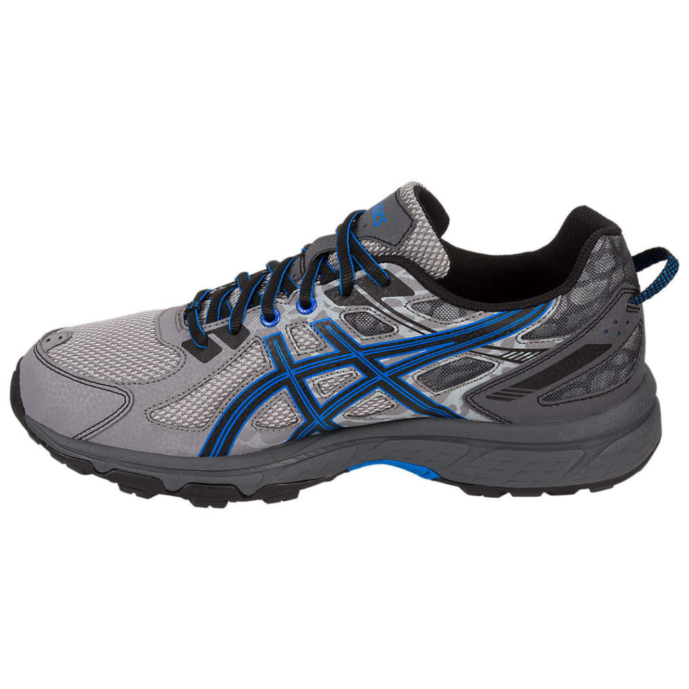 ASICS Men's GEL-Venture 6 Running Shoes, Aluminum/Black/Blue, Extra Wide - ALUMINUM