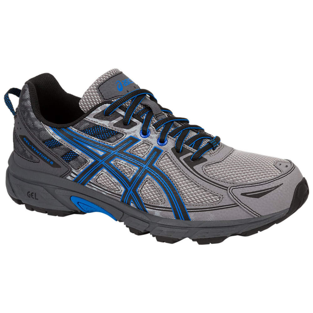 Asics Men's Gel-Venture 6 Running Shoes, Aluminum/black/blue, Extra Wide