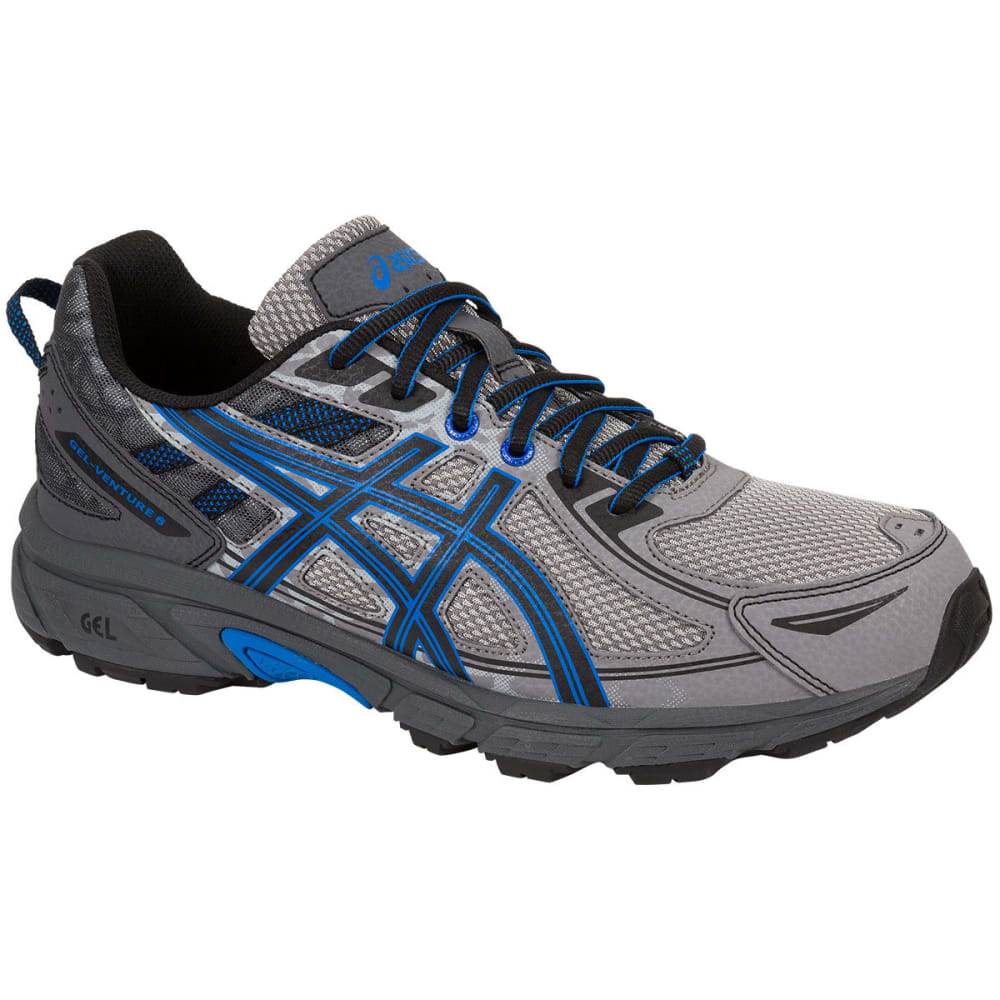 ASICS Men's GEL-Venture 6 Running Shoes, Aluminum/Black/Blue - ALUMINUM