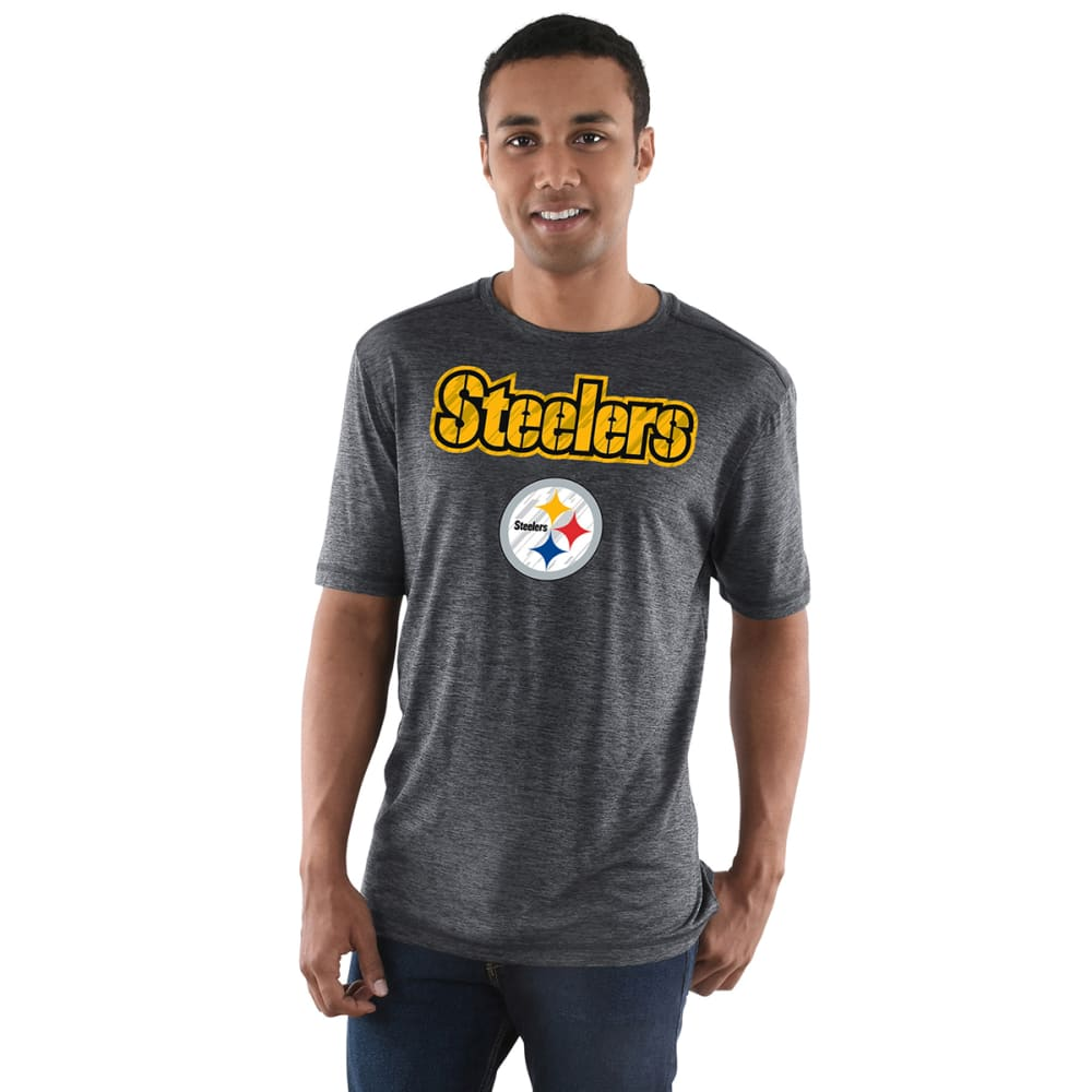 PITTSBURGH STEELERS Men's Pro Grade Poly Short-Sleeve Tee - HEATHER CHARCOAL