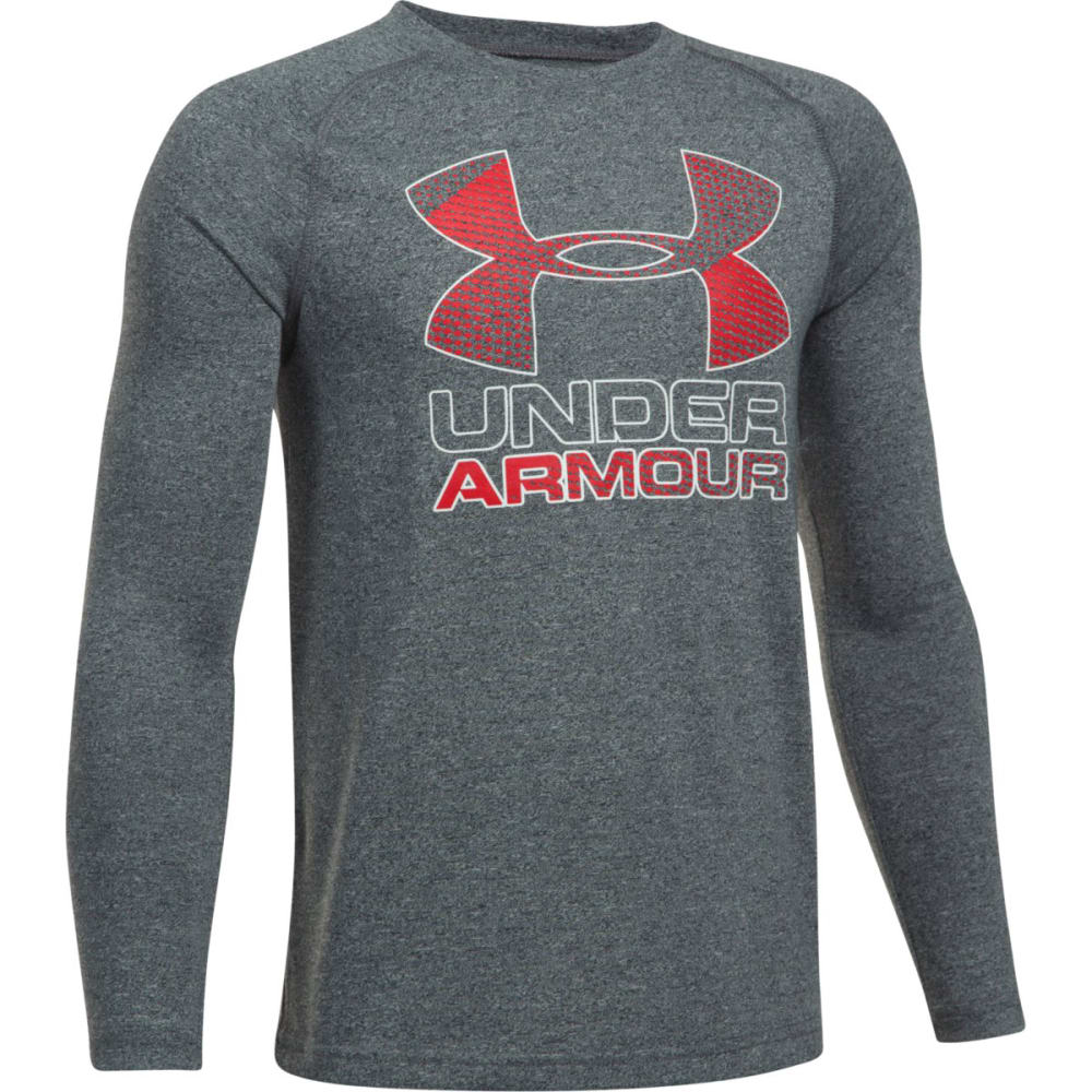UNDER ARMOUR Boys' Hybrid Big Logo Long Sleeve Tee - 001-BLK/RED/WHITE