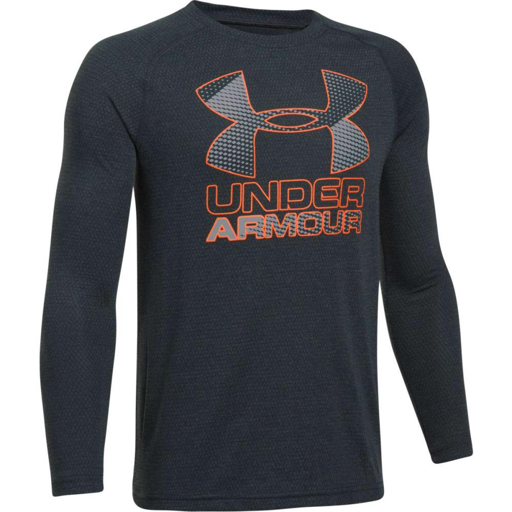 UNDER ARMOUR Boys' Hybrid Big Logo Long Sleeve Tee - 016-ANTHRCTE/GRAPH/O