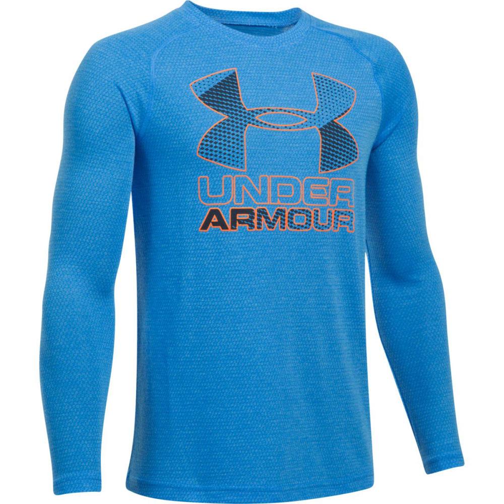 UNDER ARMOUR Boys' Hybrid Big Logo Long Sleeve Tee - 983-MAKOBLU/MIDNVY/O