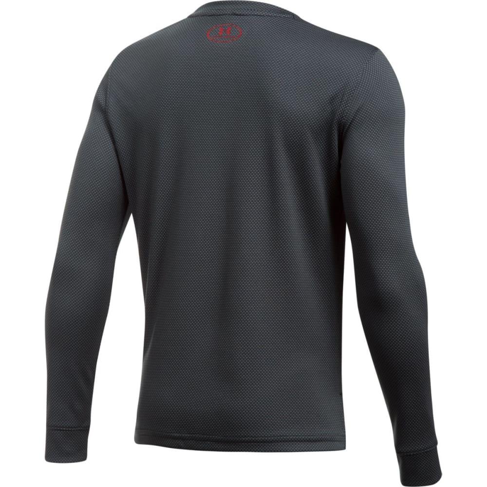 UNDER ARMOUR Boys' Textured Tech Crew Long-Sleeve Shirt - 001-BLK/GRAPH/RED