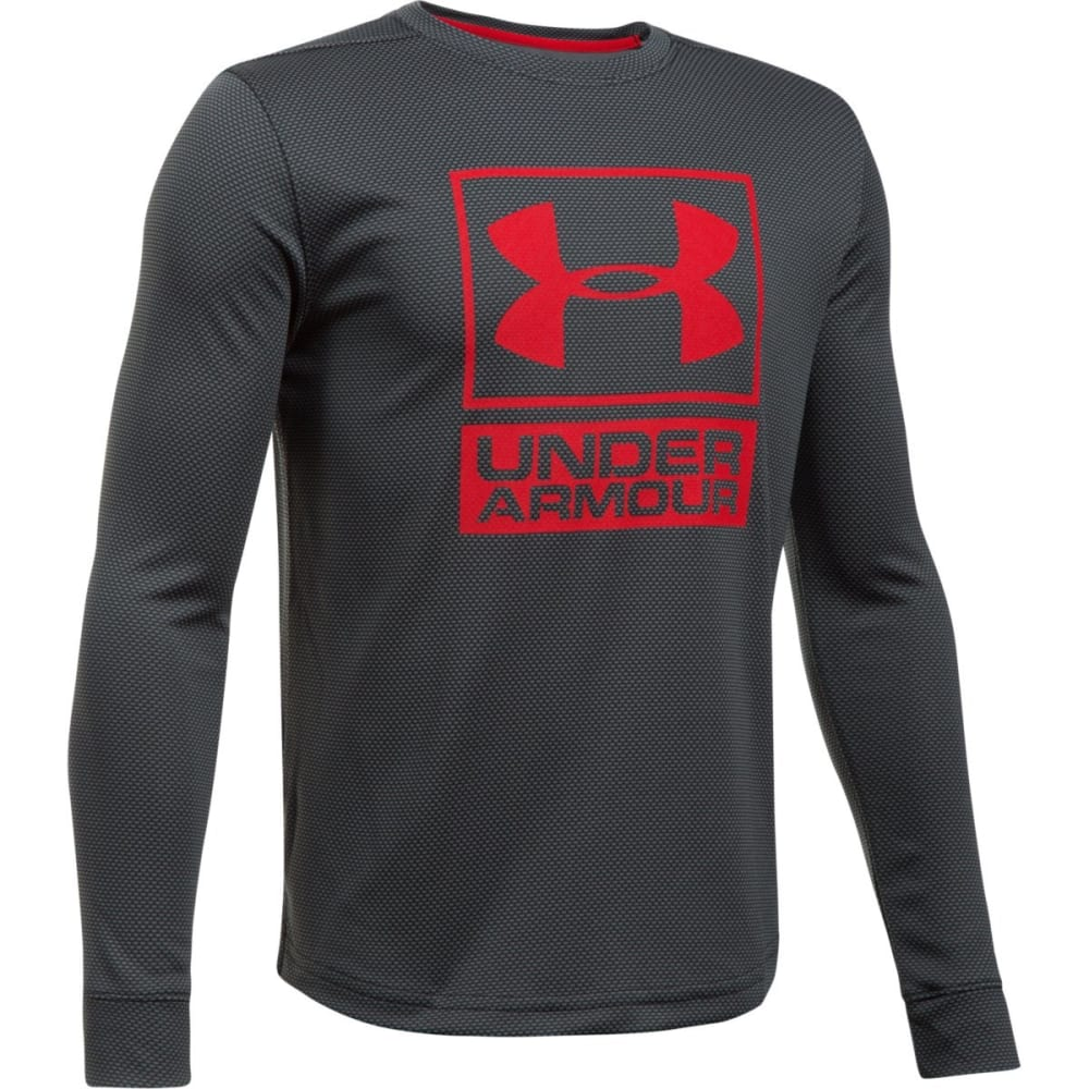 UNDER ARMOUR Boys' Textured Tech Crew Long-Sleeve Shirt - 001-BLK/GRAPH/RED