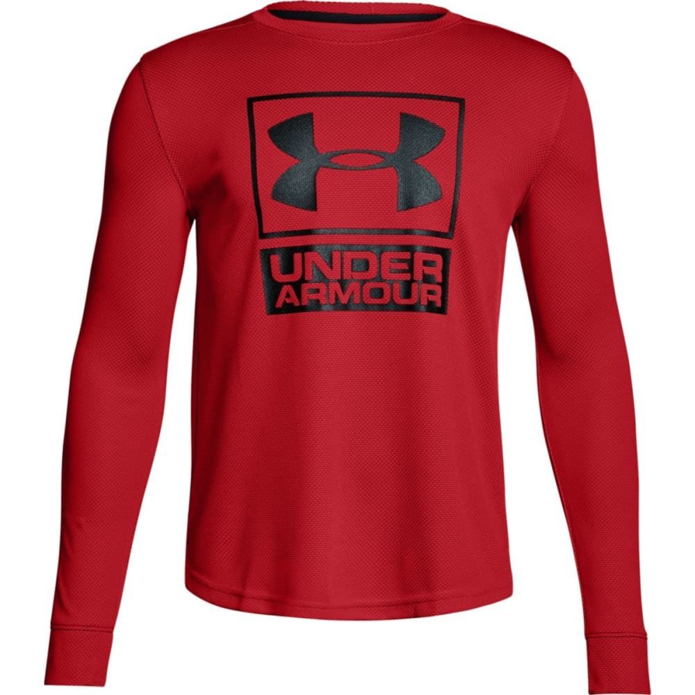 UNDER ARMOUR Boys' Textured Tech Crew Long-Sleeve Shirt - 600-RED/RED/BLK