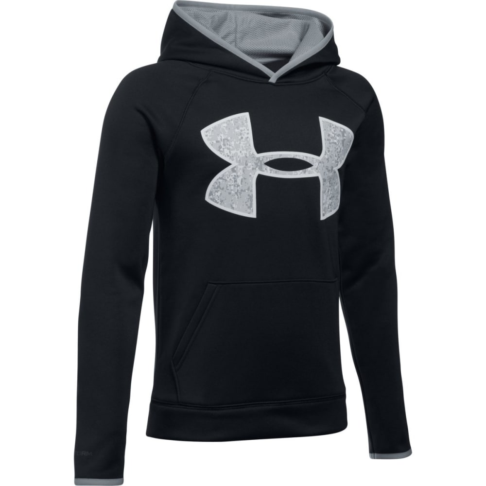 UNDER ARMOUR Boys' Armour Fleece Big Logo Hoodie - 001-BLK/STEEL/OVERCS