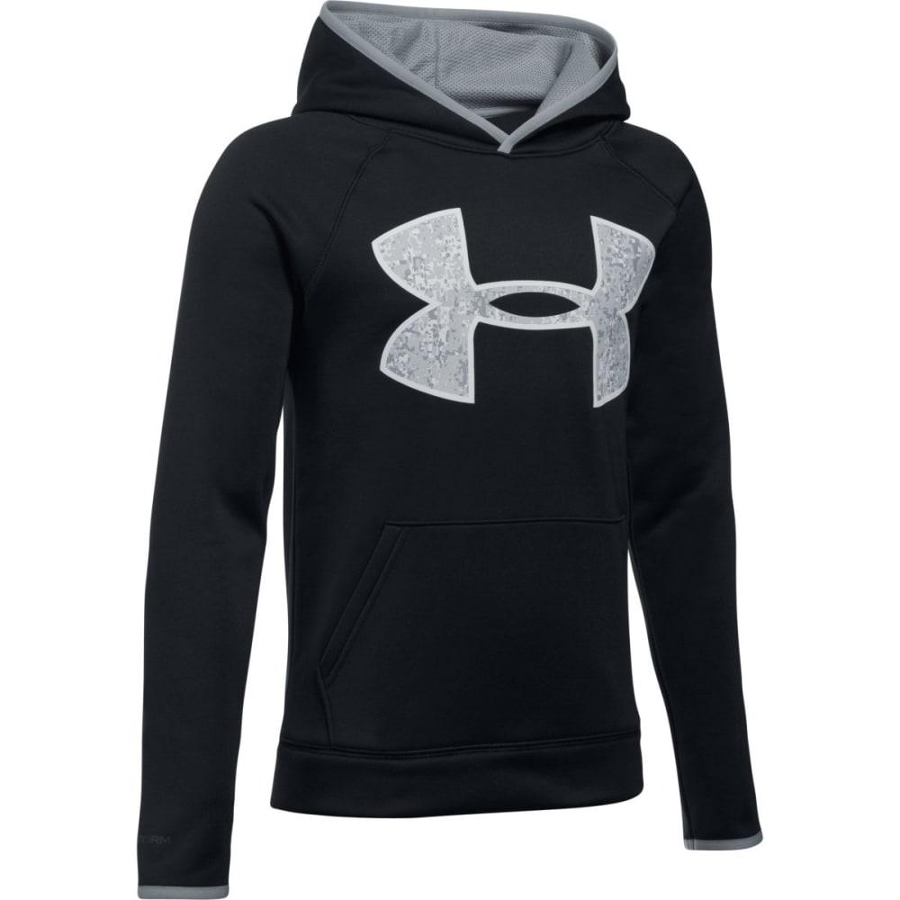UNDER ARMOUR Boys' Armour Fleece Big Logo Hoodie - 001-BLK/STEEL/OVERCS