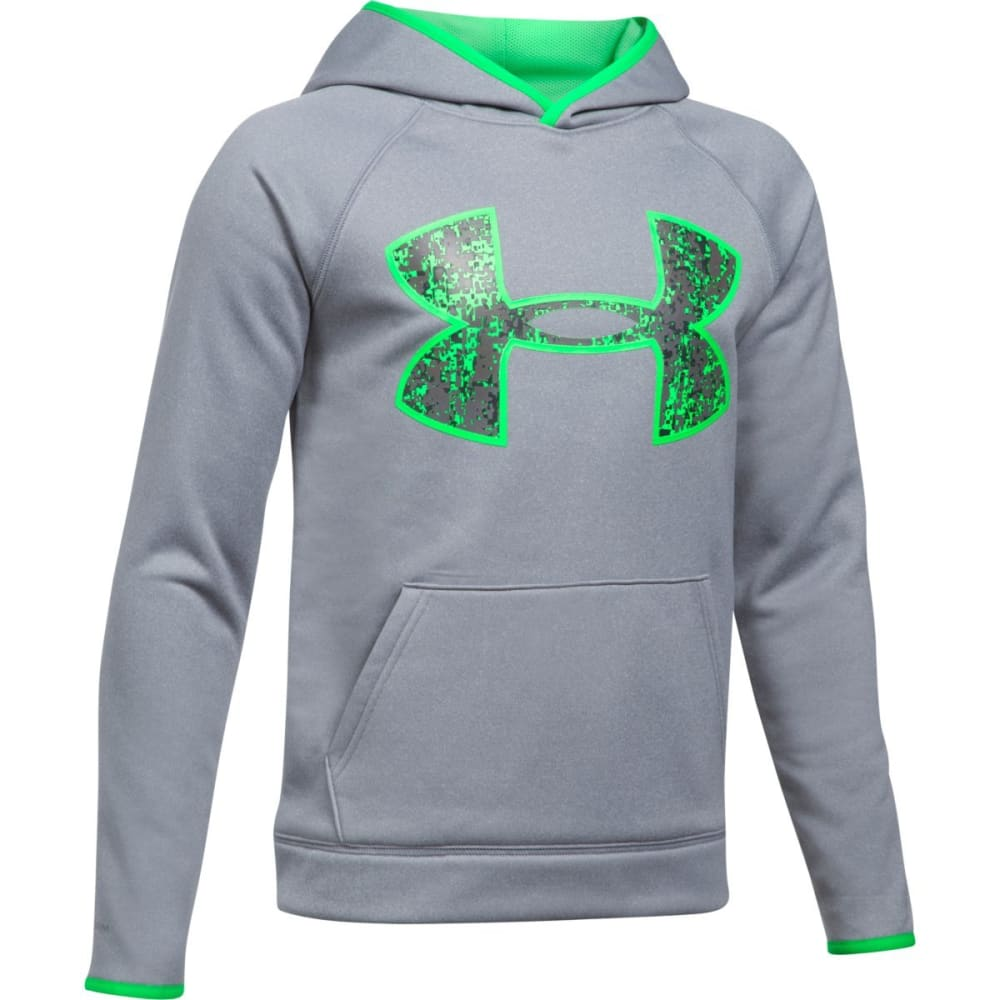 UNDER ARMOUR Boys' Armour Fleece Big Logo Hoodie - 035-STEEL/LIMETWIST