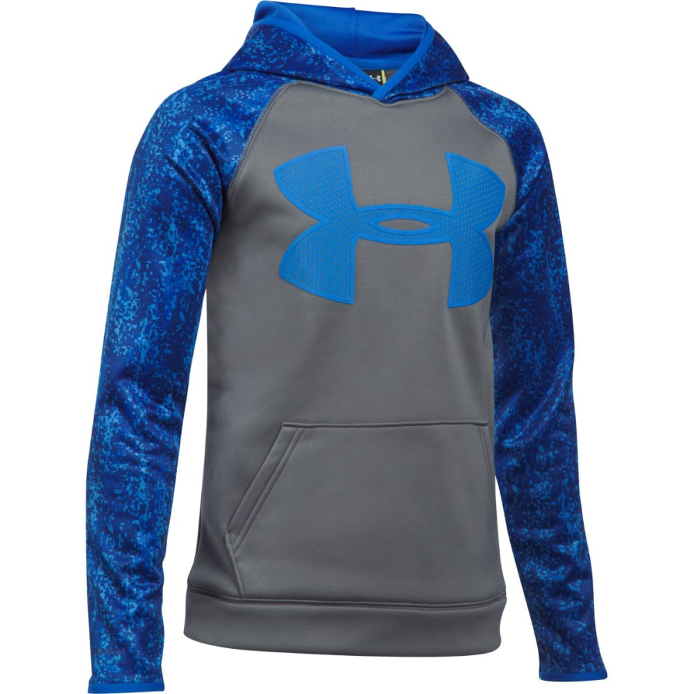 UNDER ARMOUR Big Boys' UA Storm Armour Fleece Big Logo Printed Pullover Hoodie - 040-GRAPH/ULTRA BLUE