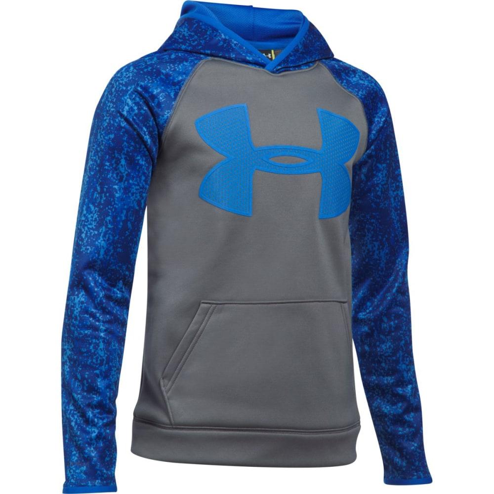 UNDER ARMOUR Big Boys' UA Storm Armour Fleece Big Logo Printed Pullover Hoodie - 040-GRAPH/ULTRA BLUE
