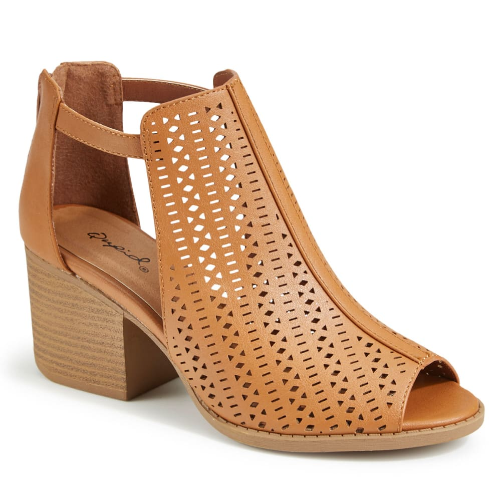 QUPID Women's Core-32 Perforated Peep Toe Booties - CAMEL