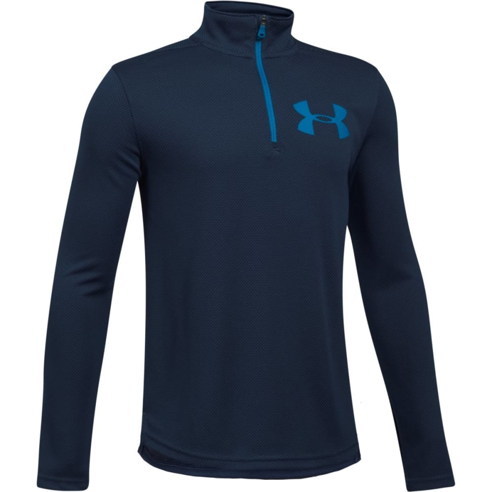 UNDER ARMOUR Big Boys' UA Tech Textured ¼-Zip Pullover - 410-MIDNTNVY/CRUISEB