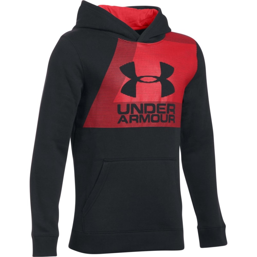 UNDER ARMOUR Big Boys' Rival Fleece Hoodie - 001-BLACK/RED