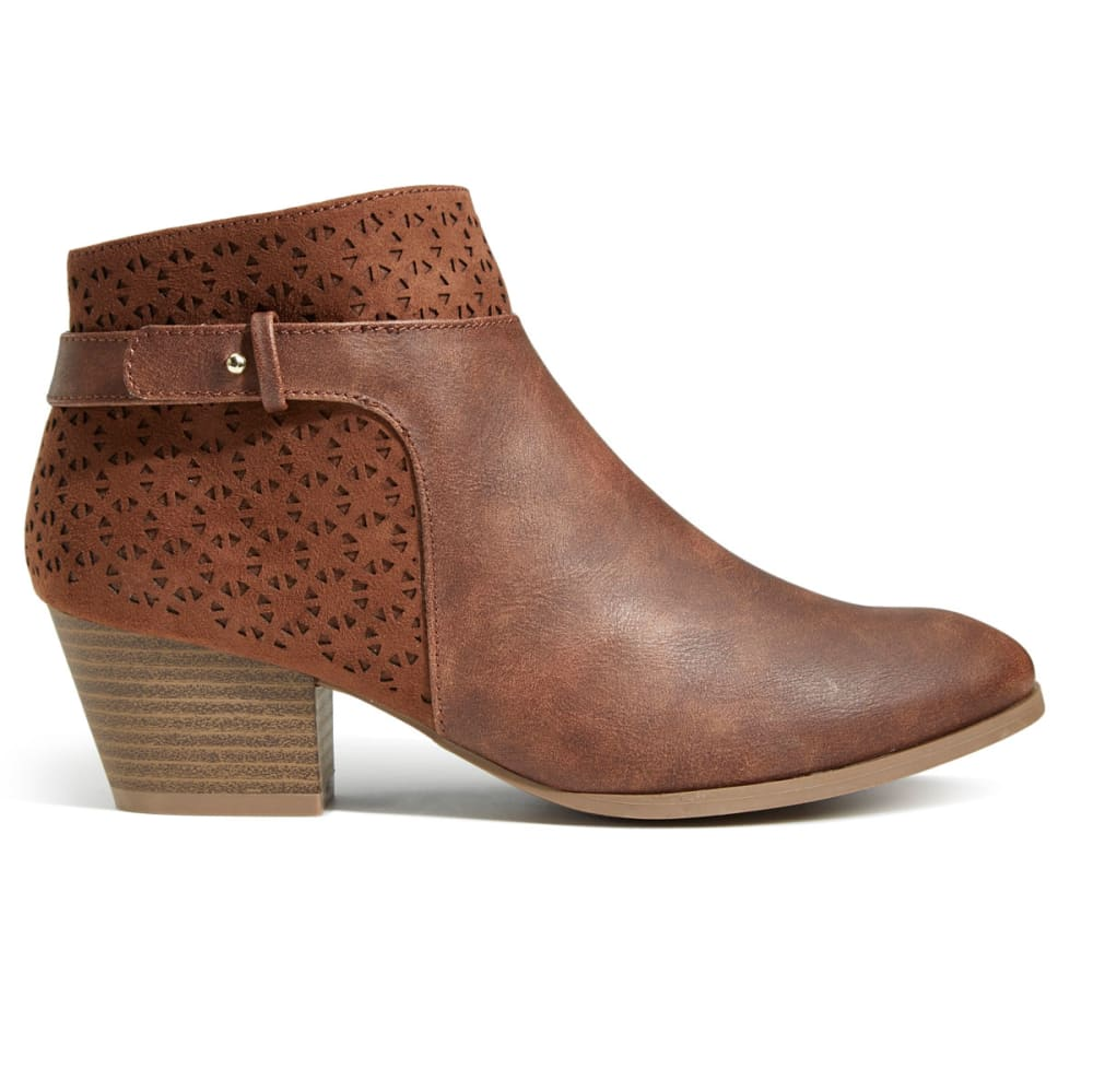 QUPID Women's Travis-02 Perforated Ankle Booties - LIGHT BROWN