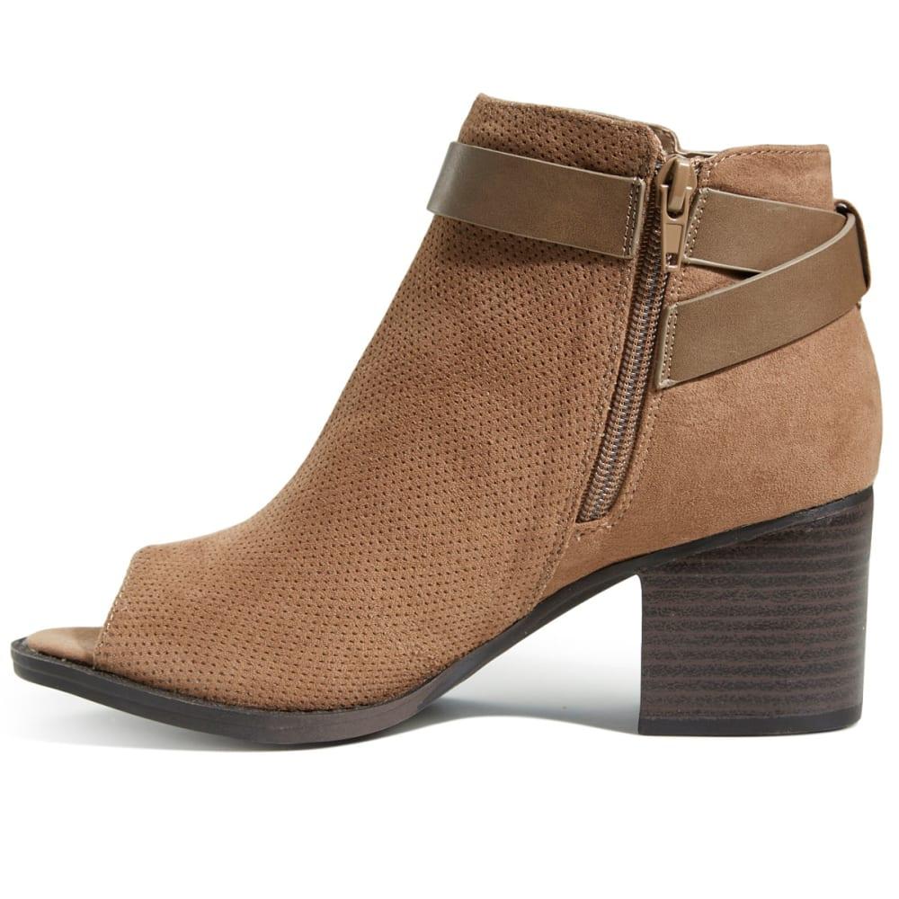 QUPID Women's Dixie-25 Peep Toe Booties - TAUPE