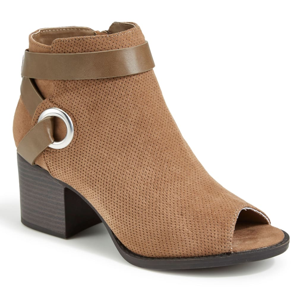 QUPID Women's Dixie-25 Peep Toe Booties - TAUPE
