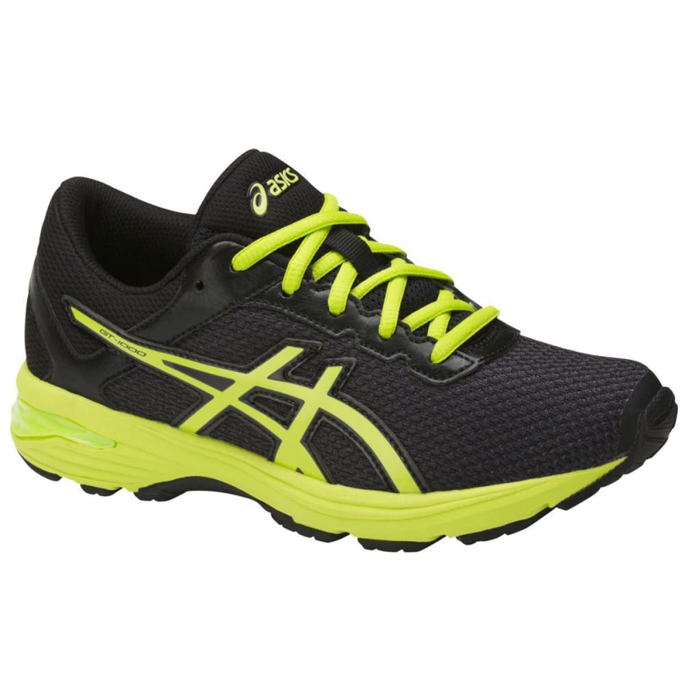ASICS Boys' GT-1000 6 GS Running Shoes, Black/Energy Green/Silver - BLACK