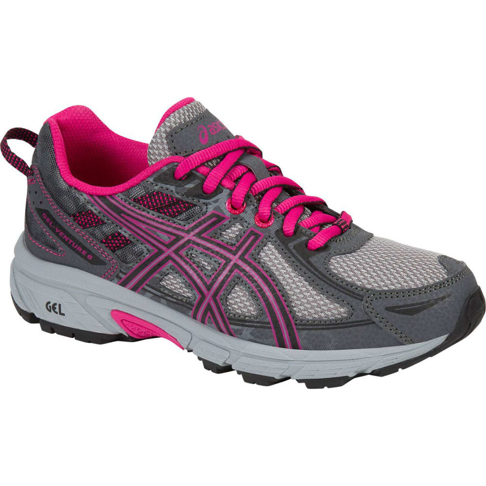 ASICS Girls' GEL-Venture 6 GS Running Shoes, Carbon/Black/Sport Pink - GREY