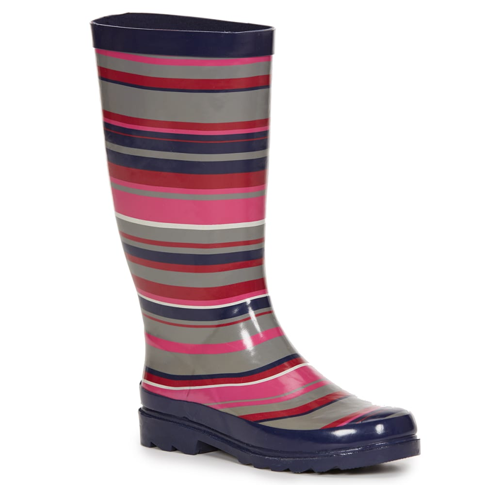SUGAR Women's Raffle 4 Striped Rain Boots - NAVY STRIPE