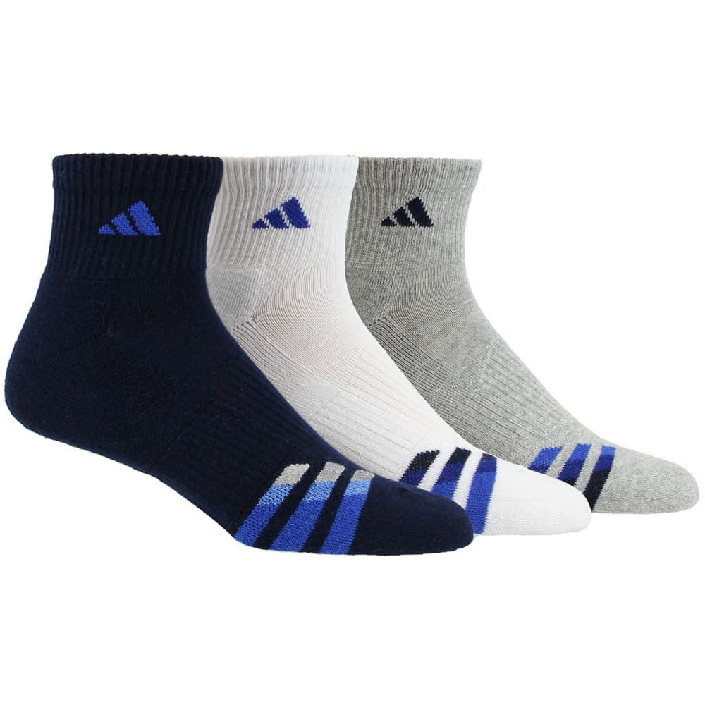 ADIDAS Men's Cushioned Color Quarter Socks, 3-Pack - NAVY/WHTGREY/ASST