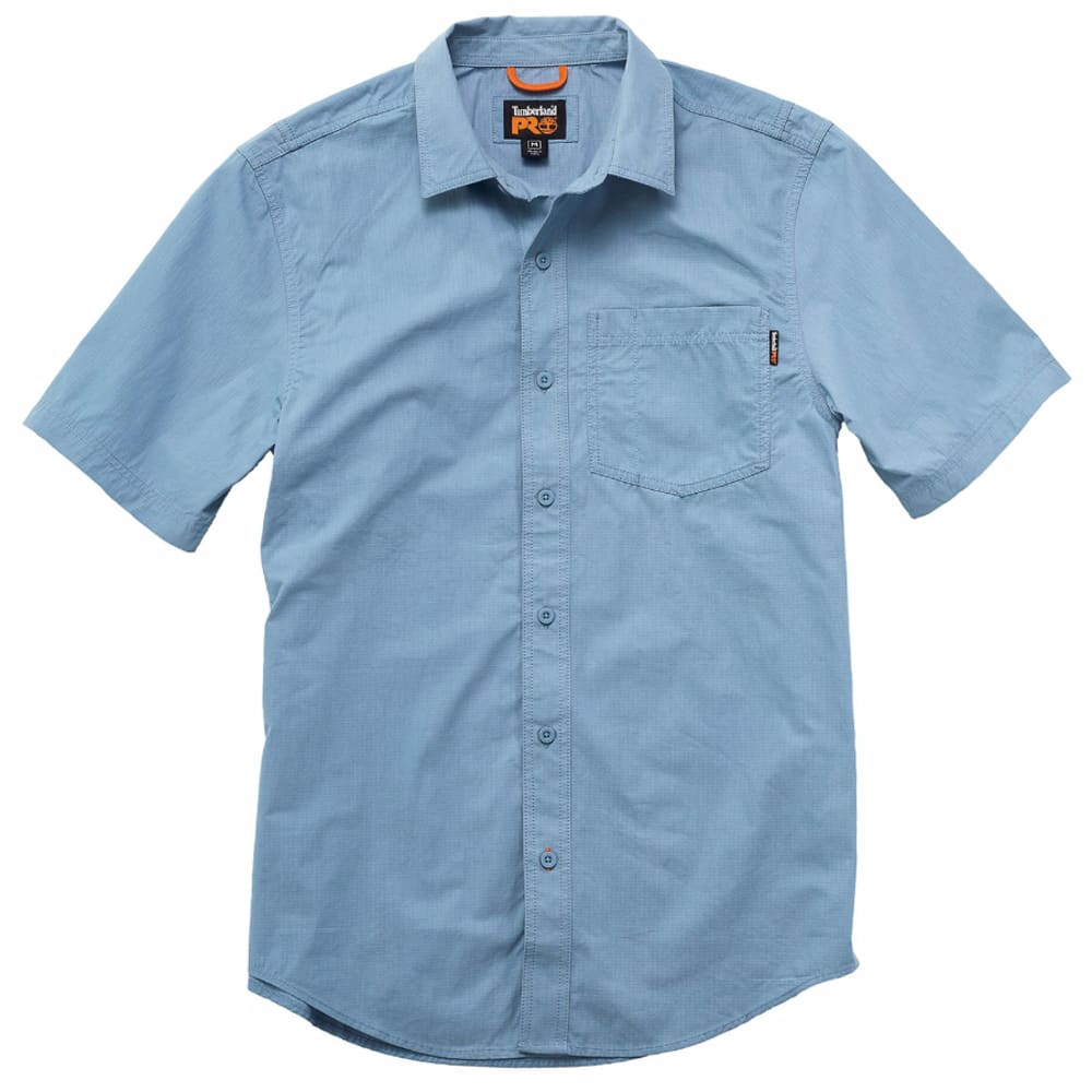 TIMBERLAND PRO Men's Warrior Ripstop Woven Work Short-Sleeve Shirt - 424 FADEDENIM BLUE