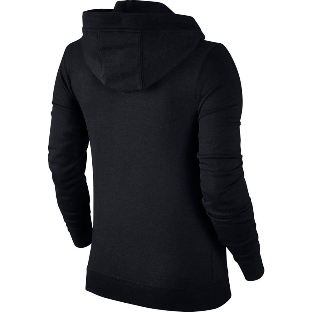 NIKE Women's NSW Fleece Full-Zip Hoodie - BLACK/WHITE-010