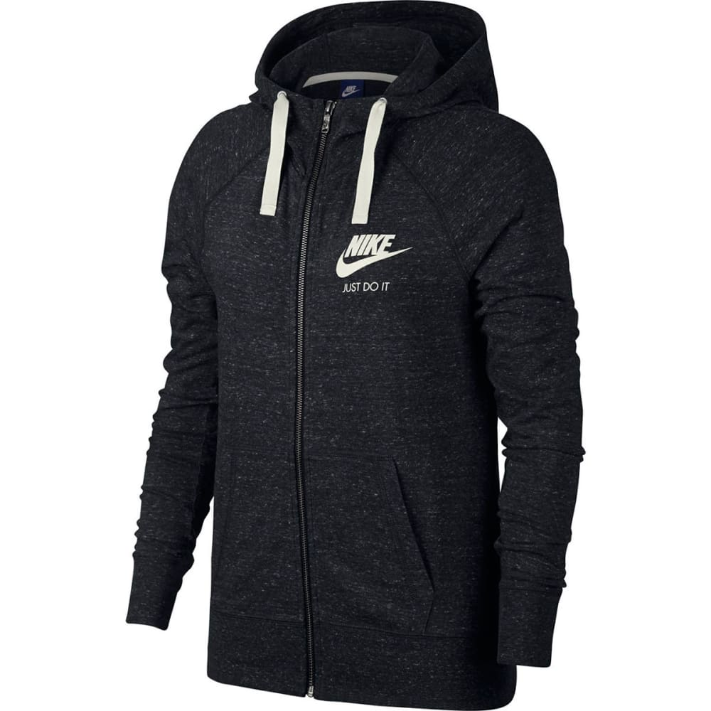 NIKE Women's Sportswear Gym Vintage Full-Zip Hoodie - BLACK/SAIL-010