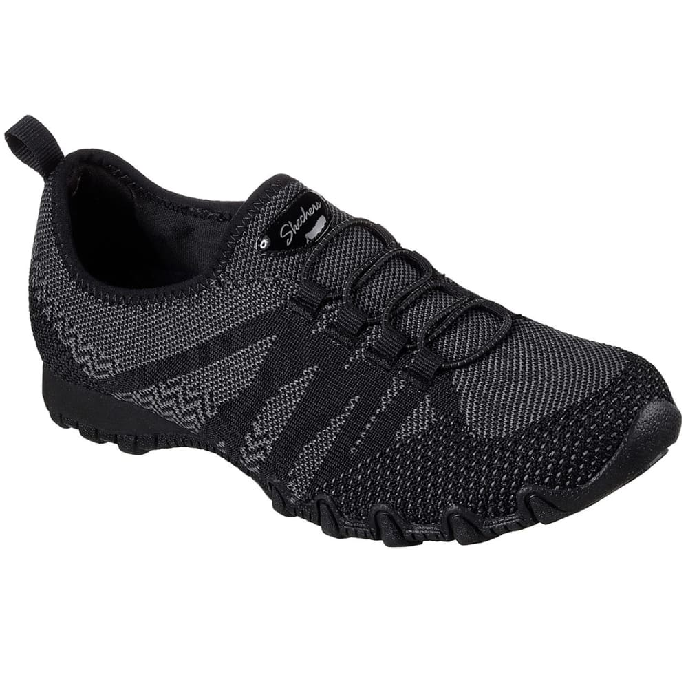 Skechers Women's Relaxed Fit: Bikers - Get With Knit Casual Shoes, Black