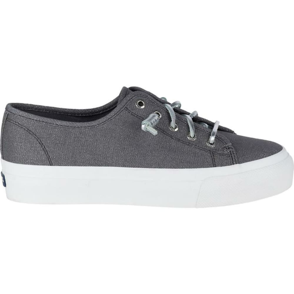 SPERRY Women's Sky Sail Metallic Twill Boat Shoes, Dark Grey - DARK GREY